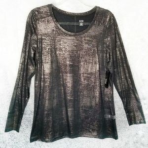 NEW NWT a.n.a Long Sleeve Shirt Black Gold Size L
